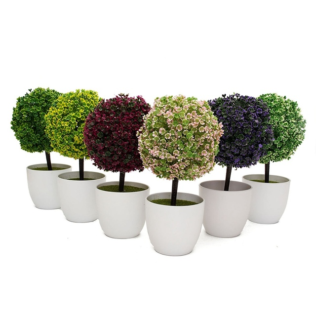 new 1pcs artificial topiary tree and ball flowers buxus boxwood plants in pot garden home coffee artificial topiary tree ball plants pot garden