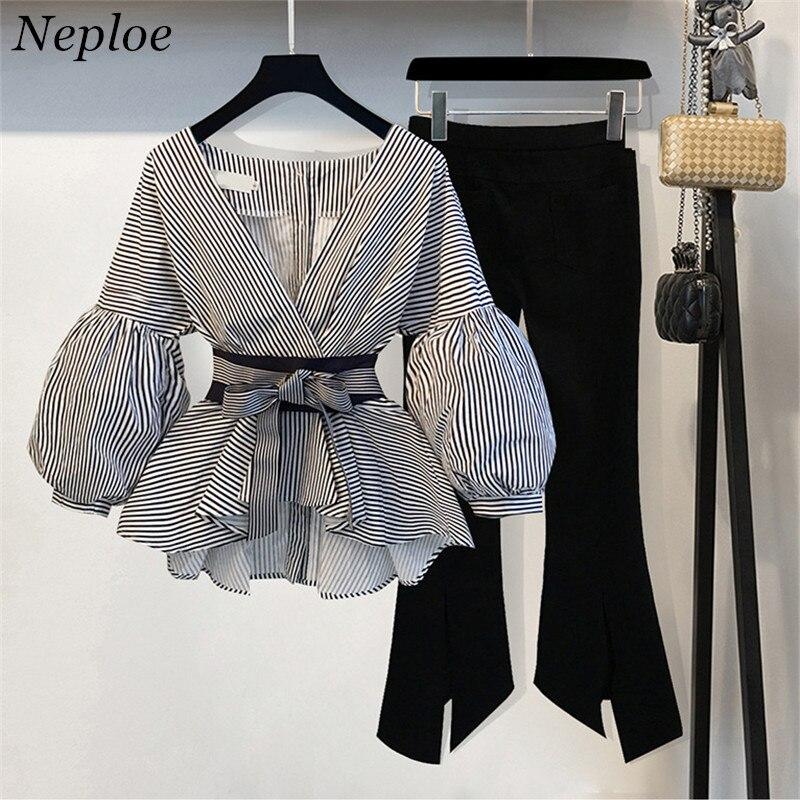 Neploe 2019 New Striped Blouse & Wide Leg Pants Set with Sashes Fashion Puff Sleeve Blusas + Flare Pants 2 PCs Women Suits 68191 blouse