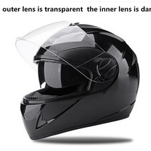 цена на Free shipping Motorcycle Street Bike Glossy Black Full Face Helmet + Two Visors: Smoked & Clear