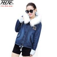 2018 Denim Jacket Women Winter Coat Parka Fur Hooded Warm Fleece Overcoat Outwear Print Jeans Parka Winter Jackets Coat Female