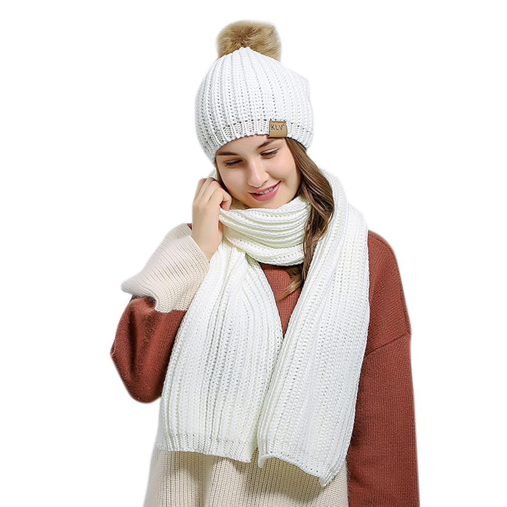 MISSKY 2PCS/Set Winter Women Woolen Knitted Cap And Scarf Suit Solid Color Lady Knitted Hat Muffler Set