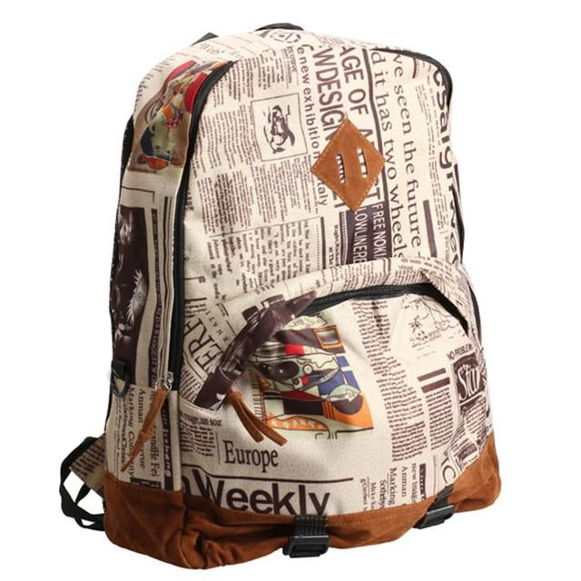 f769c3378e4f Unisex Newspaper Printing Canvas Backpack School Bag Satchel Travel Tote  Rucksack Laptop Backpacks For Teenage Girls mochila  48