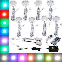 RGBW RGB White LED Under Cabinet Lights Downlight 8 Lamps Kit With IR Remote Control Dimmable