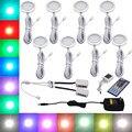 RGBW RGB + Branco LEVOU Sob As Luzes Do Gabinete Kit com IR Controle Remoto Pode Ser Escurecido Downlight 8 Lâmpadas para a Decoração Da Cozinha iluminação