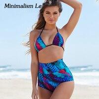 Minimalism Le Sexy Bikinis Sets Print Swimsuit 2018 Swimwear Women Bandage Bikini Beach Wear Bathing Suits