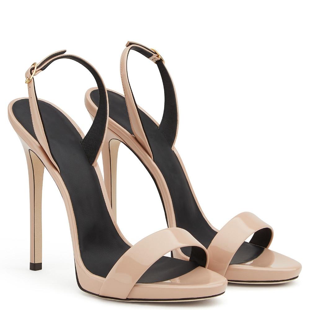 Простые сандалии на высоком каблуке розового и золотистого цвета; женские брендовые Стильные Классические туфли на каблуке с ремешком сзади; пикантные модельные туфли на шпильке; цвет красный, черный, телесный - 5