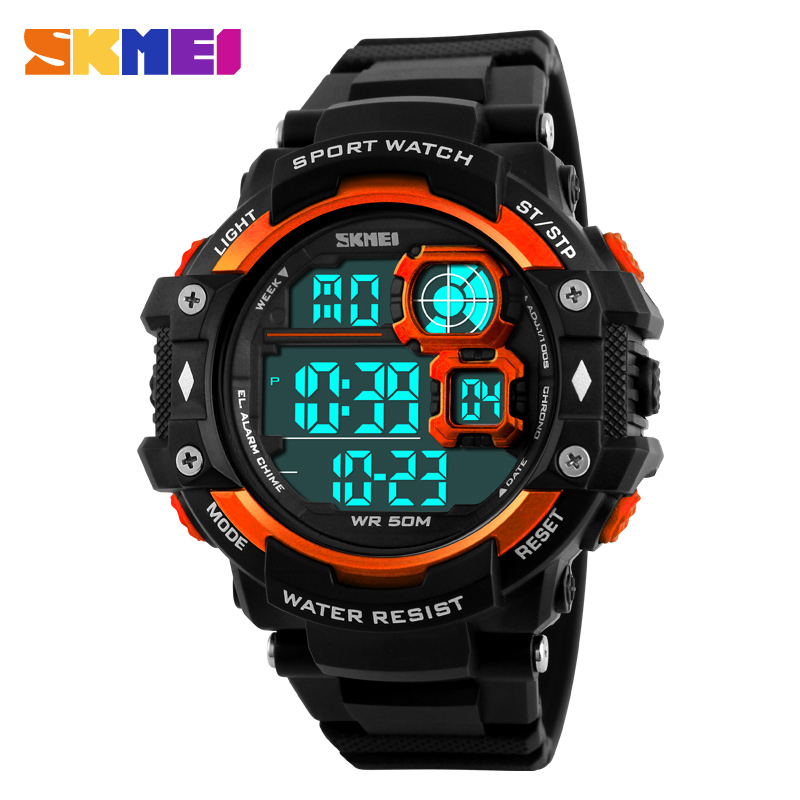 SKMEI deportes Marca Digital hombres relojes 50 m impermeable moda Casual estudiante al aire libre reloj militar LED 1118