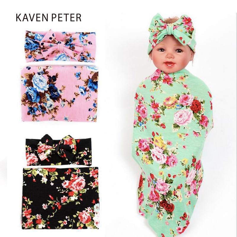 Baby tæpper nyfødt bomuld med hovedbånd et sæt spædbørn Modtagelse tæpper baby fotografering tæpper konvolutter til nyfødte