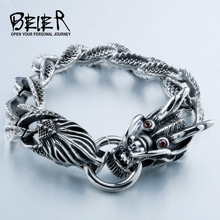 Cool Man's Dragon Bracelet For Man Stainless Steel Vintage Cool Dragon Style Men's Bracelet Jewelry BC8-019