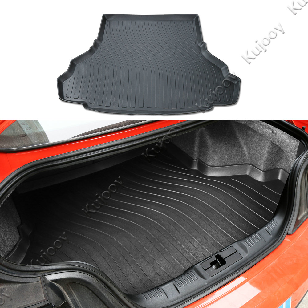 Black Car Rear High Edge Trunk Gurad Mat Tray Waterproof Protector Mat For Ford Mustang 2015 2016 car rear trunk security shield cargo cover for ford everest 2015 2016 2017 high qualit black beige auto accessories