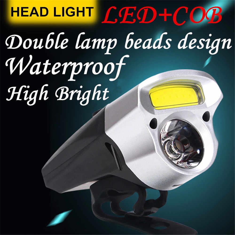 На открытом воздухе велосипед передний свет велосипедный двойной фонарь светодиодный + COB Велоспорт USB Перезаряжаемый велосипед налобный фонарь велосипедный фонарик