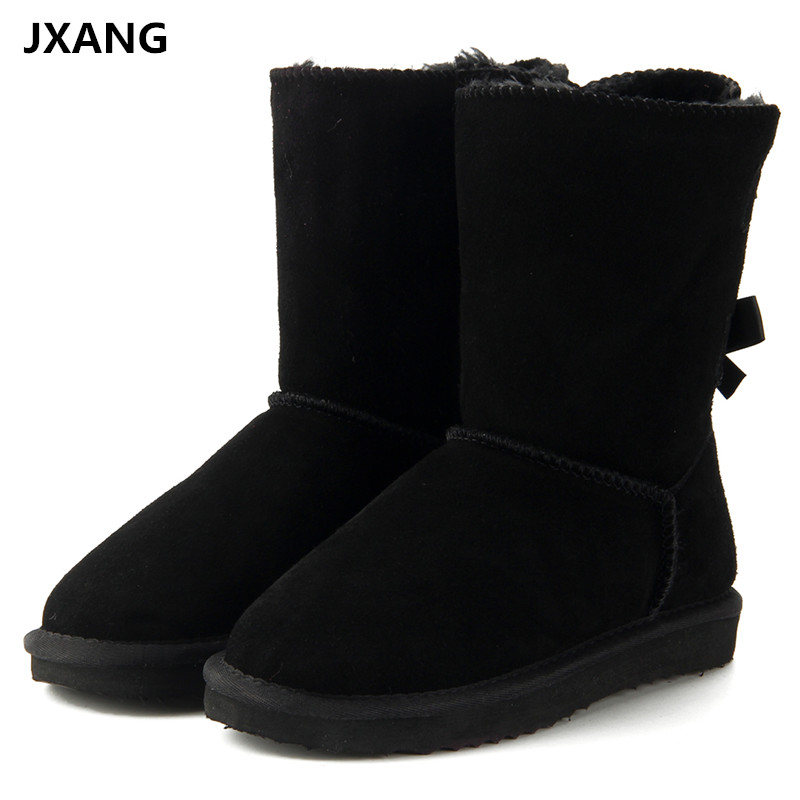 JXANG 2018 High Quality Brand women winter snow boots genuine leather snowboots female botas laces for