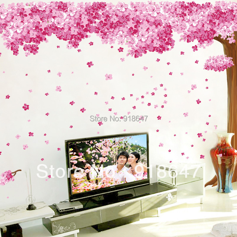New Products Extra Large Romantic Pink Sakura Wall