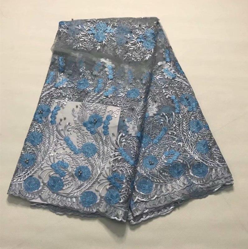 Новый дизайн Небесно голубой Африканский Французский кружевной ткани с бисером.