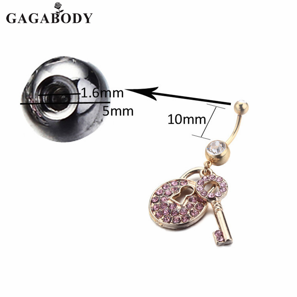 """14G~3//8/"""" Heart with Multi Color Paved Gems and Chain Lock and Key Dangle"""