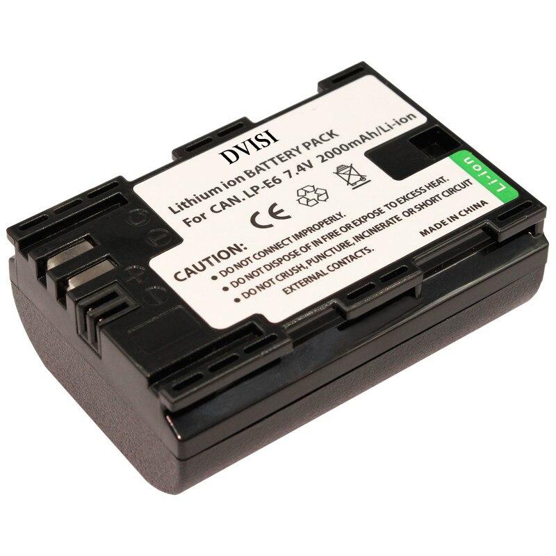 DVISI LP-E6 LP E6 Camera Battery for Canon 70D 5D Mark II + III 80D 7D Mark II 60D 6D 7D BG-E14 BG-E13 BG-E11 BG-E9 BG-E7 BG-E6