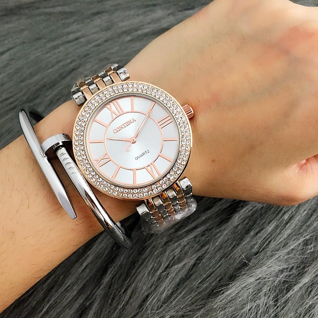 2018 Watch Women Contena Ladies Quartz Watch Full Stainless Steel Rhinestone Wristwatches Woman's Watch xfcs relojes para mujer