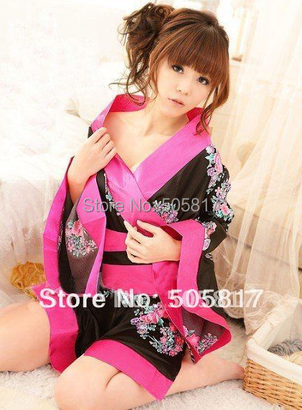 Drop Shipping Sexy Floral Print Hairdressing Kimono Lingerie Women Japanese Kimono Babydoll Sleepwear Black White Rose H8099 In Exotic Apparel