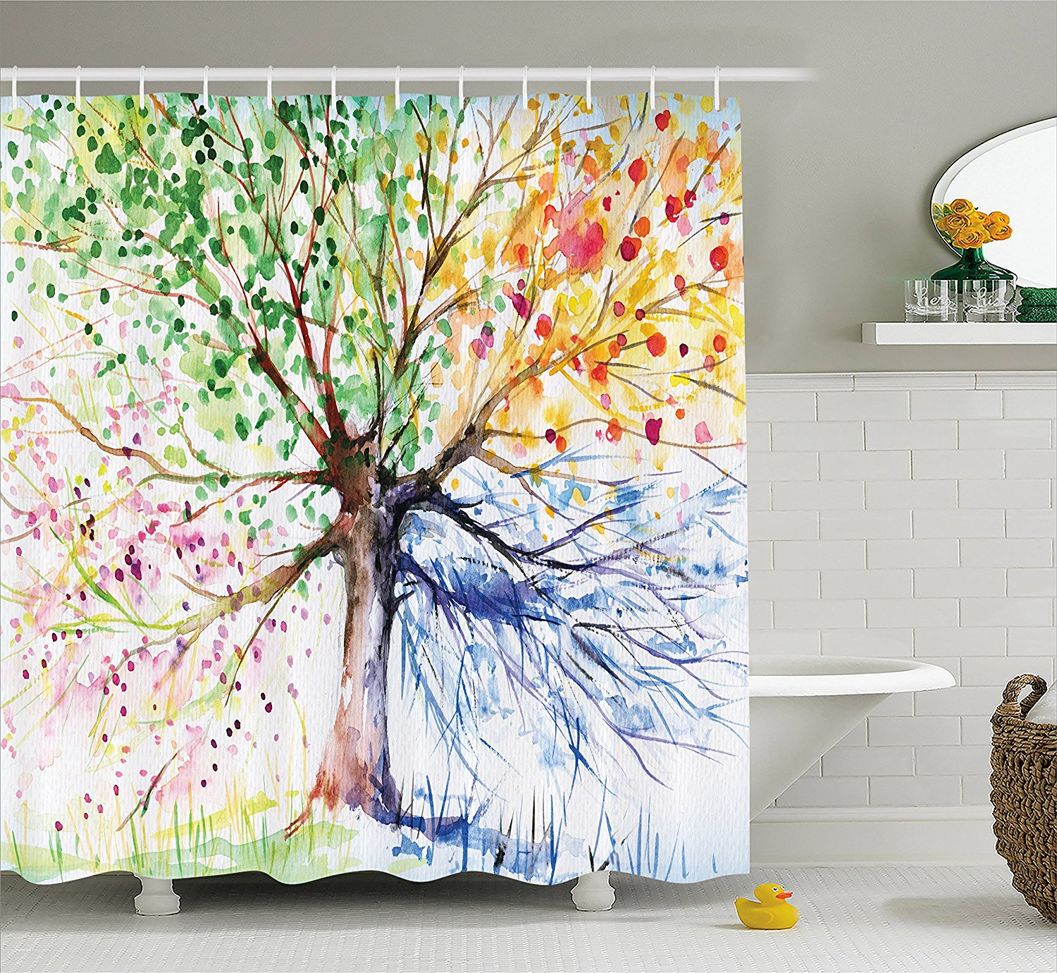Us 13 02 43 Off Colorful Tree Four Seasons Shower Curtain Berry Green Red Yellow Navy Brown Extra Long Bath Decorations Bathroom Decor Set In