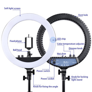 """Image 2 - fosoto RL 12II 14"""" Dimmable Photography light Led Ring Light Bi color 3200 5600K 240 led Ring Lamp For Camera Photo Studio Phone"""