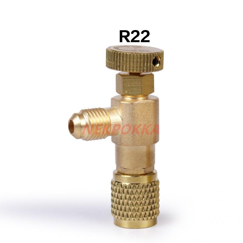 Samfox V/álvula de Aire Acondicionado 2Pcs L/íquido R410A V/álvula de Seguridad R22 de Carga de Refrigerante V/álvula de 1//4Adaptador de Seguridad Refrigerante de Aire Acondicionado