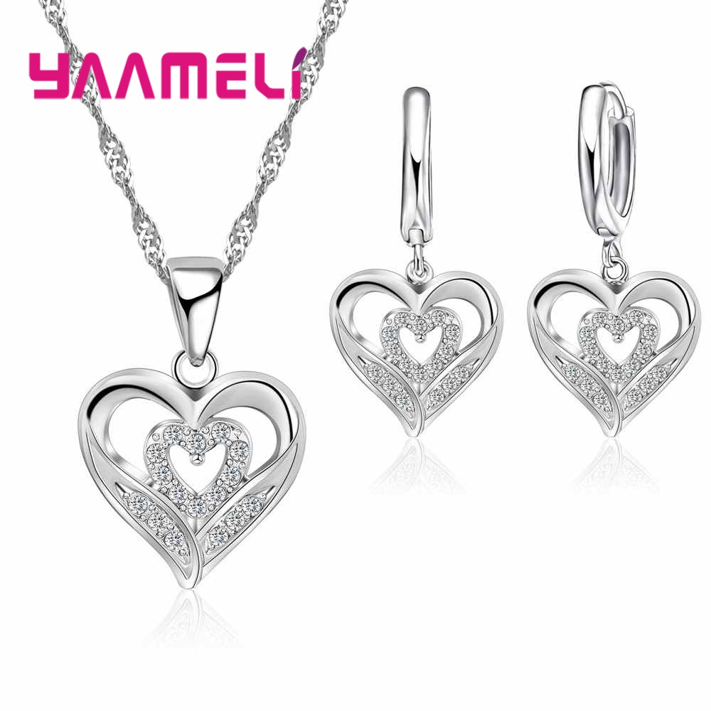 Romantic Style Double Love Shape Valentine's Day Wedding Souvenir 925 Sterling Silver For Women  Necklace Earrings Set