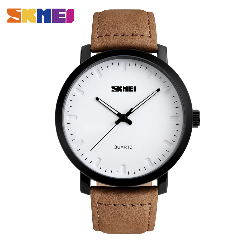 SKMEI Men Fashion Watches Casual Genuine Leather Strap Quartz Wristwatches 30M Waterproof Luxury Watch Relogio Masculino  1196 цена и фото