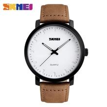 Homens SKMEI Moda Relógios Casual Pulseira de Couro Genuíno relógios de Pulso de Quartzo 30 M À Prova D' Água Relógio de Luxo Relogio masculino 1196
