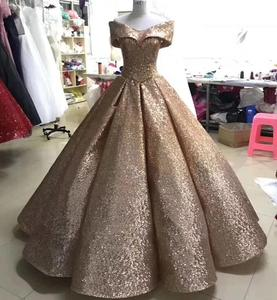 Image 2 - Glitter Mix Sequined Ball Gown Evening Dress Dubai Arab Off Shoulder Evening Gowns Robe De Soiree