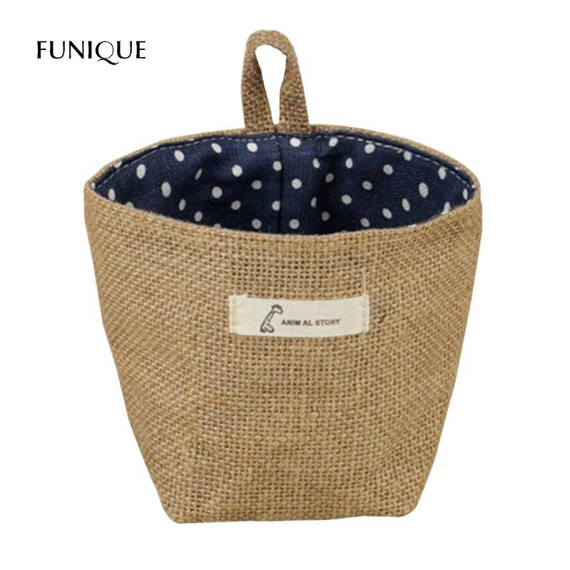 FUNIQUE New Cotton Fabric Dirty Clothes Storage Bag Folding Laundry Storage Basket Flowerpot Small Sack Hanging Little Stripes