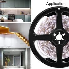 Tira de luces LED de 5V para armario, lámpara nocturna con Sensor de movimiento PIR, SMD 2835, cinta de luz Led, batería, iluminación de armario, 1m, 2m, 3m