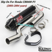 F5 Slip On Motorcycle Exhaust Modified Middle Link Pipe Carbon Fiber Muffler Sticker For HONDA CBR600RR F5 2003 2004 2005 2017