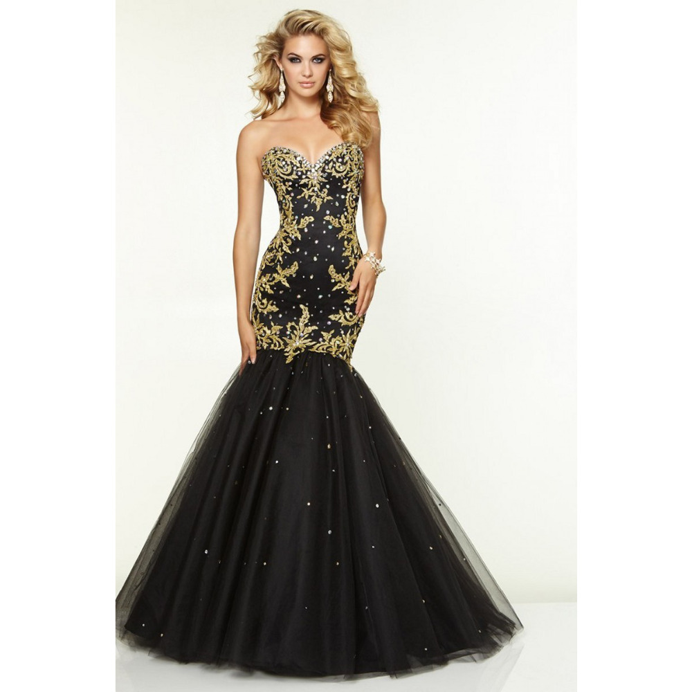 Online Get Cheap Mermaid Sweetheart Black and Gold Prom Dress ...