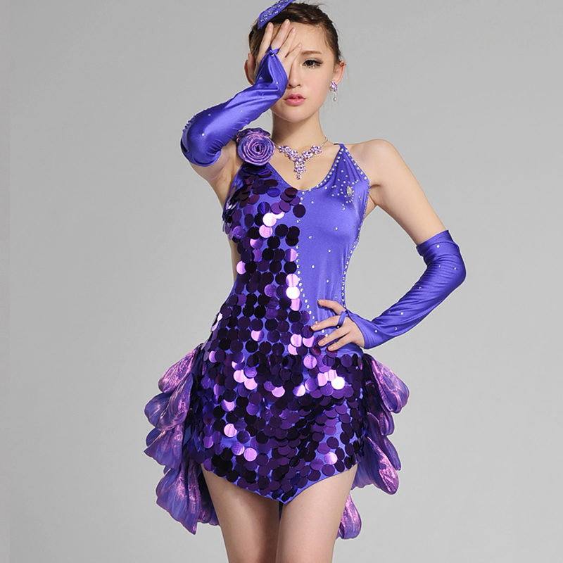Shiny Latin Dance Dress For Girls Sequin Style Yellow Dance Skirt Stage Dance Wear Professional Competition Latin Dress BL1655