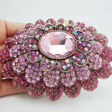 Новая мода Сладкий розовый многоуровневый цветок горный хрусталь кристалл золотой тон большая брошь булавка