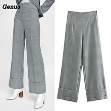 Genuo Vintage plaid wide leg women pants fashion ankle-length casual Office ladies zipper trousers 2018 gothic pantalon
