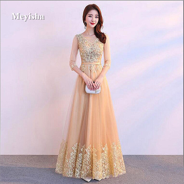 Zj7003 Evening Gowns Sweetheart Gold Sequins Tulle Evening Dresses
