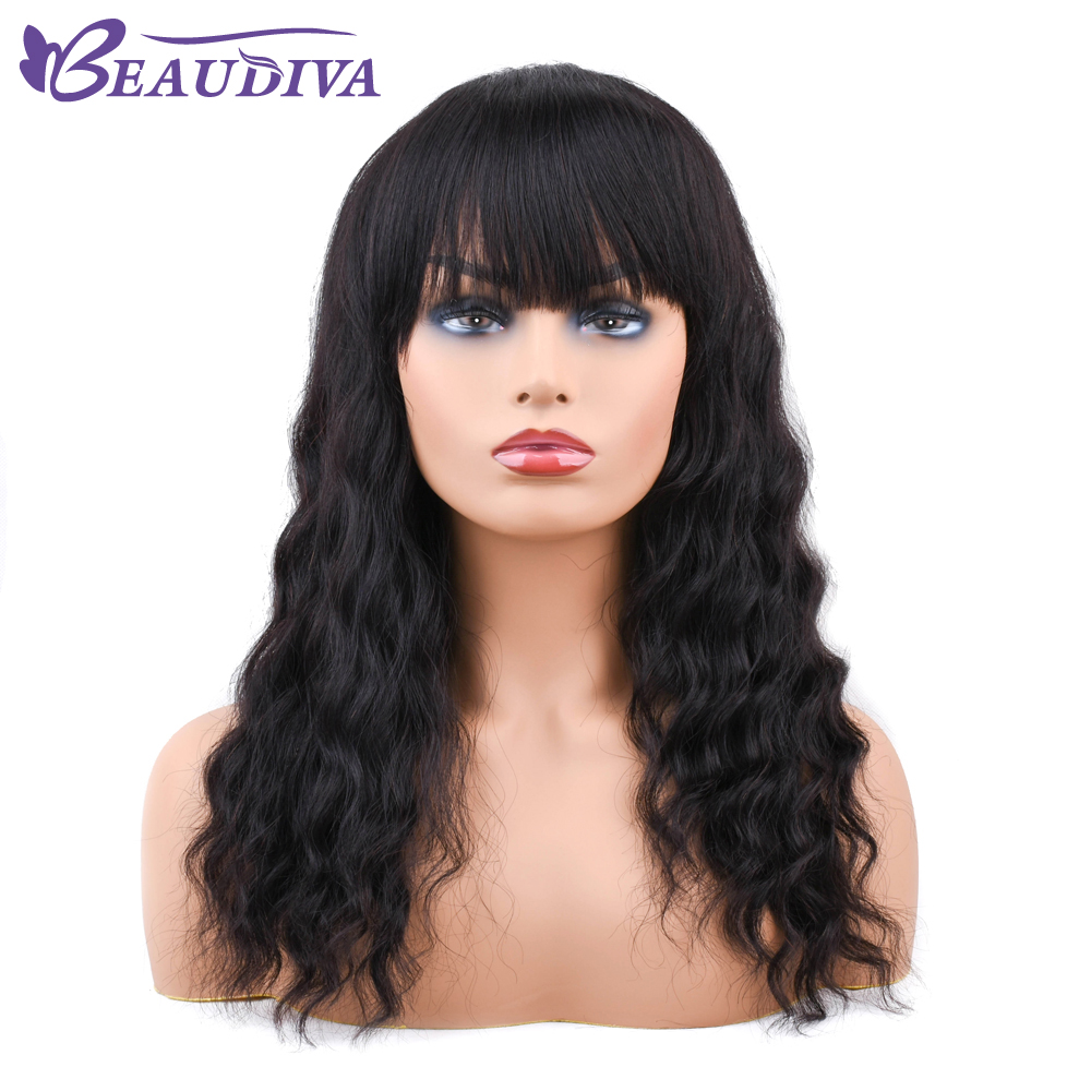 Brazilian Human Hair Wigs Ocean Wave Hair Wigs With Bangs For Women Human Hair Wig Natural Color Machine Wigs