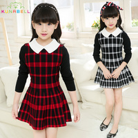British Dress For School Girl Children Brand Plaid Dress Knitting Long Sleeve Wear High Quality Dresses