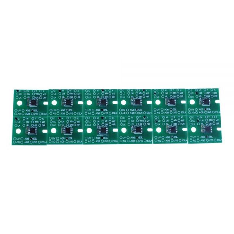 12pcs/set Permanent Solvent Chips for Roland SJ-645EX / SJ-745EX permanent roland xj 640 xj 740 eco solvent chips 6pcs set cmyklclm printer parts