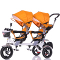 Children tricycle double a key rotating twin trolley seat baby baby to bicycle