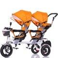 Crianças triciclo dupla uma chave de giro duplo carrinho de bebê assento do bebê para bicicleta