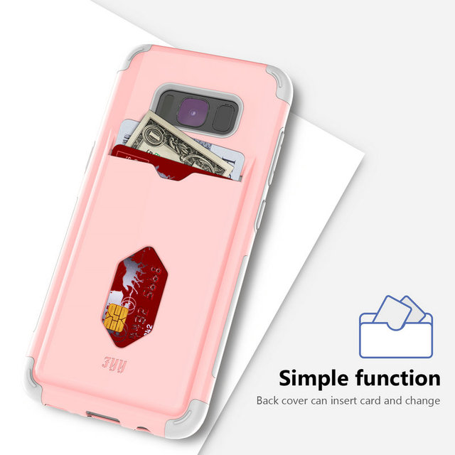 half off e1015 42eb7 US $8.99 |Luxury New Fyy Brand phone Case For Samsung Galaxy S8 Case Card  folder Phone Cover gold pink hard silicon Solid Protective shell-in ...