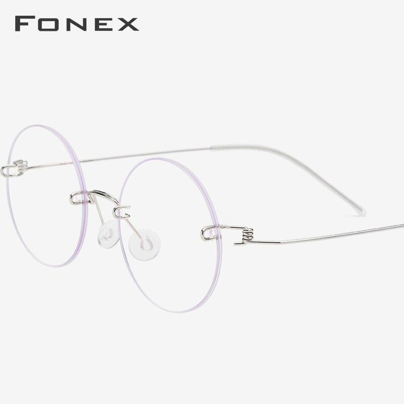 FONEX lunettes sans vis Prescription lunettes femmes sans monture ronde myopie optique coréen titane alliage lunettes cadre hommes 98620 - 2