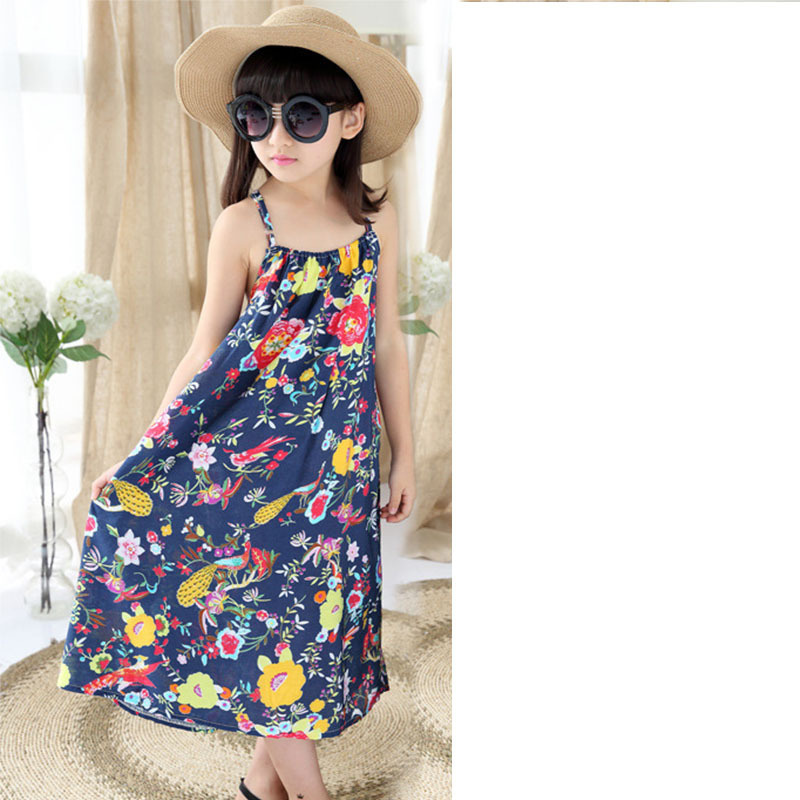 866de88d0e0 Girls Holiday Beach Dress Teenage Clothing 2018 Girl Sundresses Flowers  Printed Baby Kids Sling Dresses Summer Age 5 15 Year-in Dresses from Mother    Kids ...