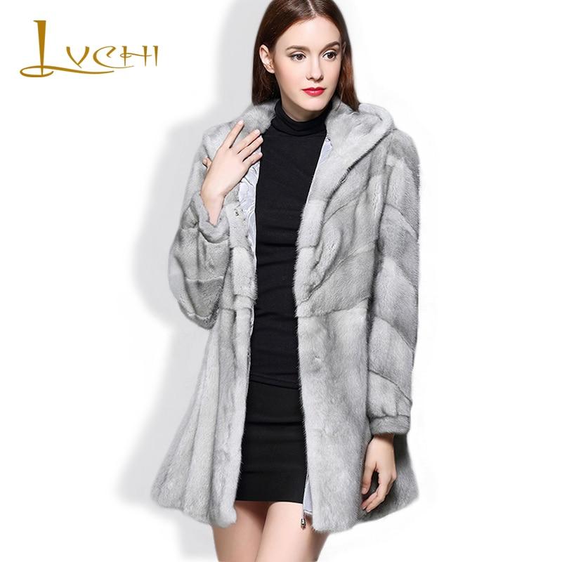 LVCHI pravá kožešina dámská bunda skutečné kožešiny ženy safírová šedá kožešinová čepice V-Neck Dánsko Mink Swan Velvet Mink Coat