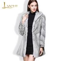 LVCHI Genuine Fur Women's Jacket Real Fur Coats Women Sapphire Grey Fur Leather Hat V Neck Denmark Mink Swan Velvet Mink Coat