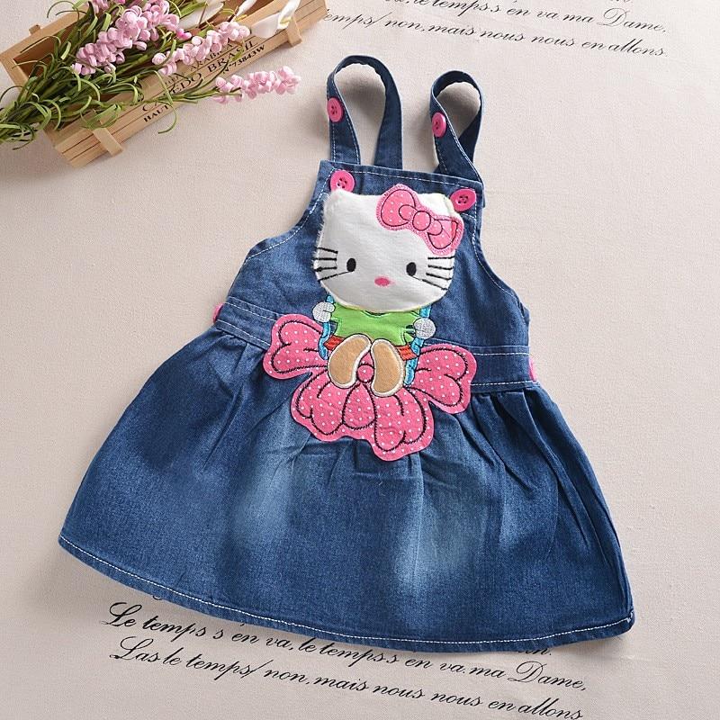 b347a1964 BibiCola Girls Vest Denim Dress Kids Baby Cartoon Cat Sleeveless ...
