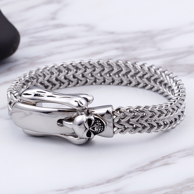 STAINLESS STEEL SKULL BUCKLE BRACELET