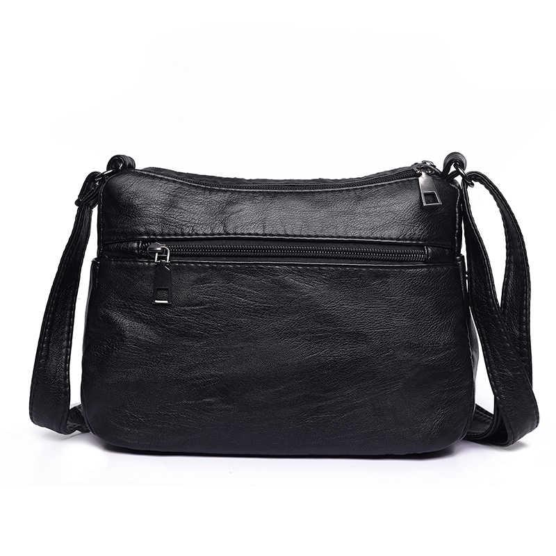 b600a5f7546 Annmouler Fashion Women Crossbody Bag Black Soft Washed Leather Shoulder  Bag Patchwork Messenger Bag Small Flap Bag for Girls